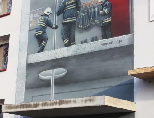 Mural konkursowy na budynku Ochotniczej Straży Pożarnej
