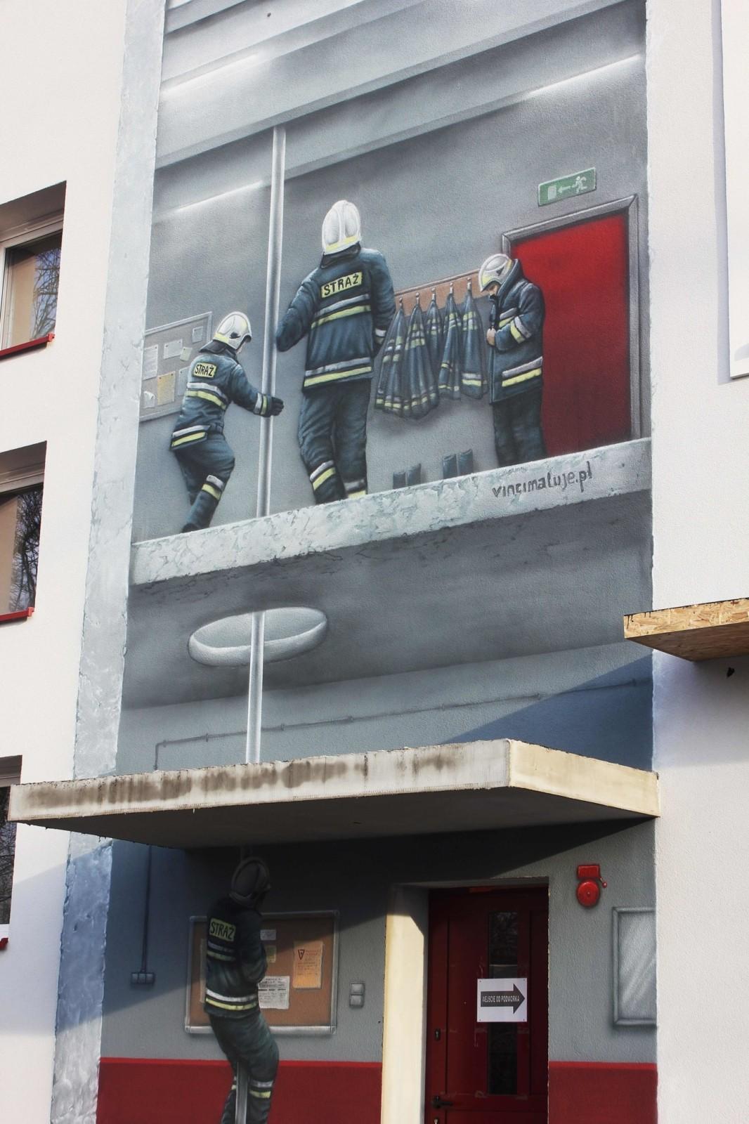 Brwinów, mural konkursowy, mural 3d, malowidło ścienne, OSP, Remiza
