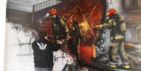 malowidło, 3d, pożar, sala edukacyjna Ognik, Augustów
