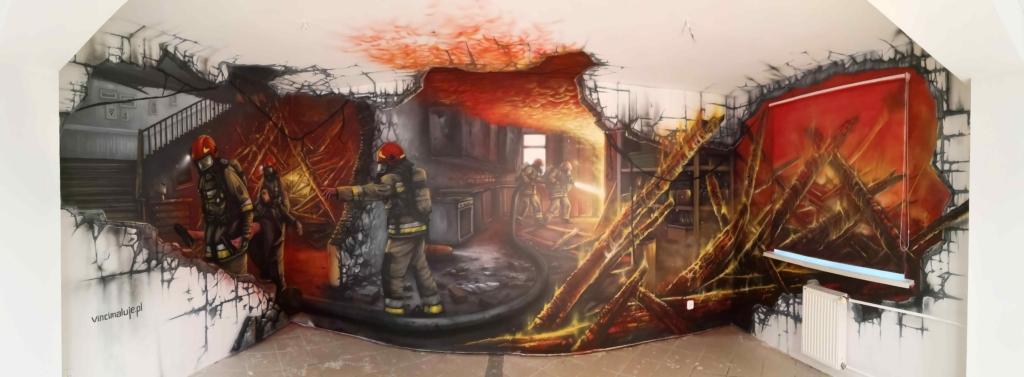 panorama malowidła w sali Edukacyjnej Ognik