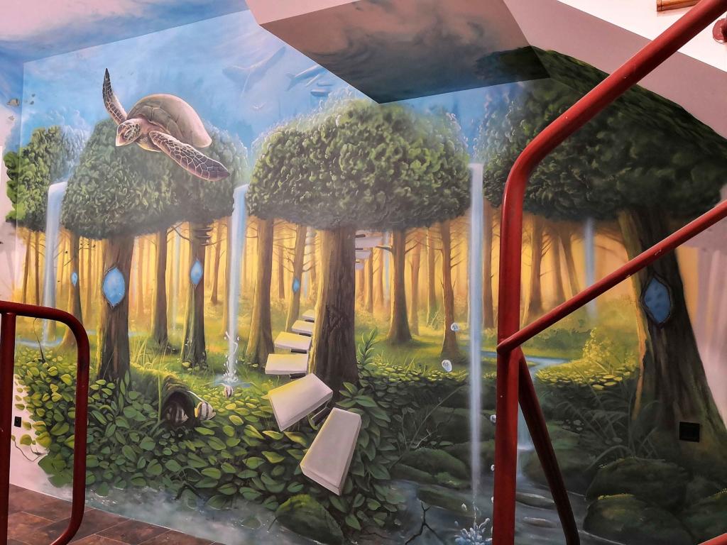 pianino, surrealistyczne, malowidło, na ścianie,