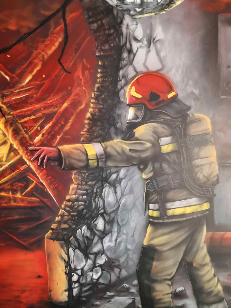 Grafika na koszulkę, ilustracja dla formy sportowej, ucieczka przed ogniem