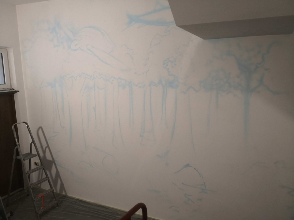 szkic na ścianie, malarstwo artystyczne