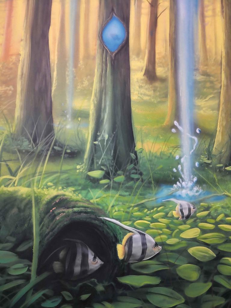 latające rybki, liście, las, wodospad, malowidło na ścianie