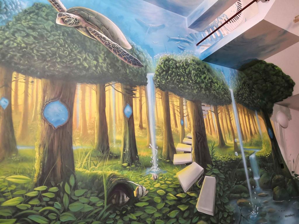 latający żółw, las, świat podwodny, surrealizm
