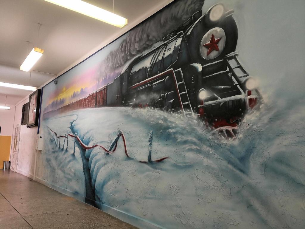 lokomotywa z serii FD, wywózki, pędzoca lokomotywa w śniegu