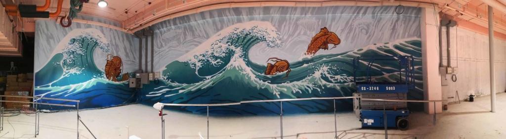 japoński mural, malarstwo z motywem japońskiej fali