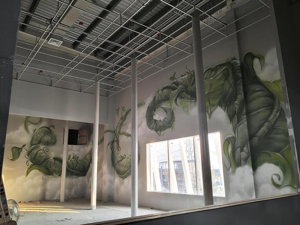 fasola, warzywa, malowidło na ścianie