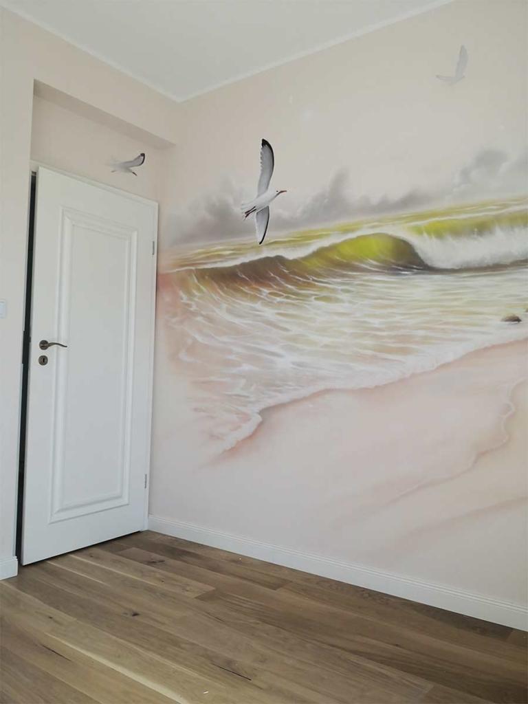 fala, malowidło w mieszkaniu,