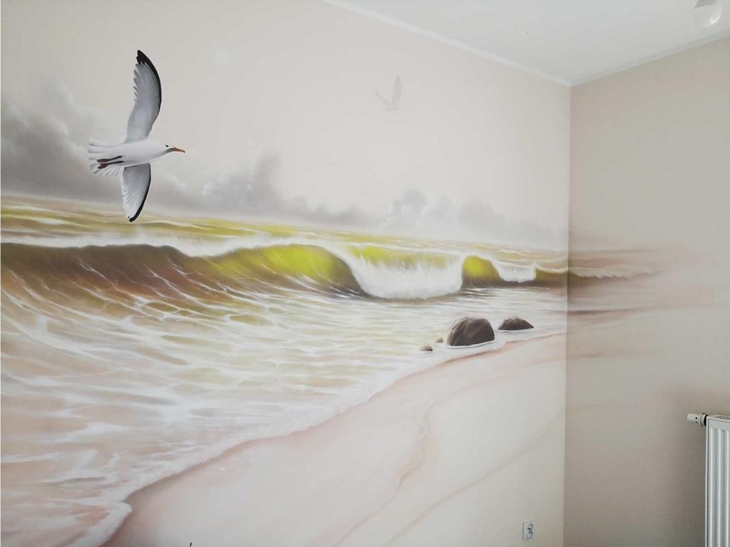 mewa, woda, sypialnia, malowidło w sypialni
