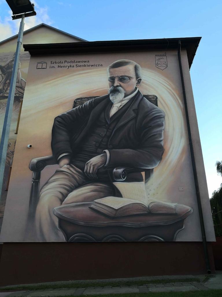 mural na ścianie szczytowej szkoły w Wąsoszu