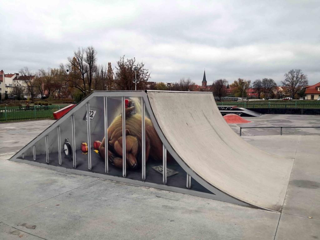 niedzwiadek namalowany na rampie w skate parku