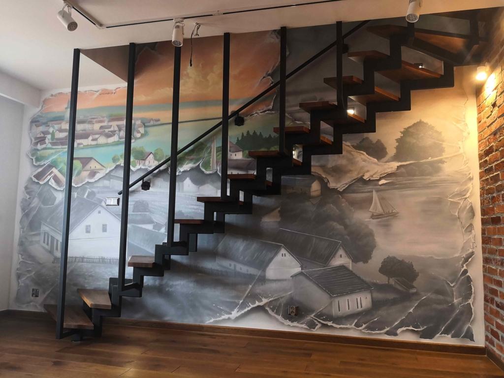 panorama Ełku malarstwo ścienne