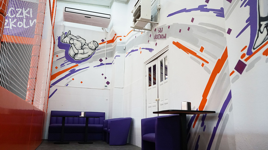 park trampolin, hop, malowidło ścienne