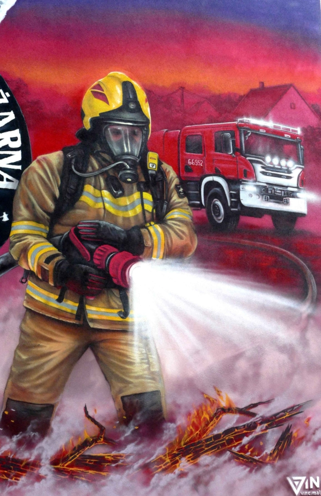 Mural OSP straż pożarna